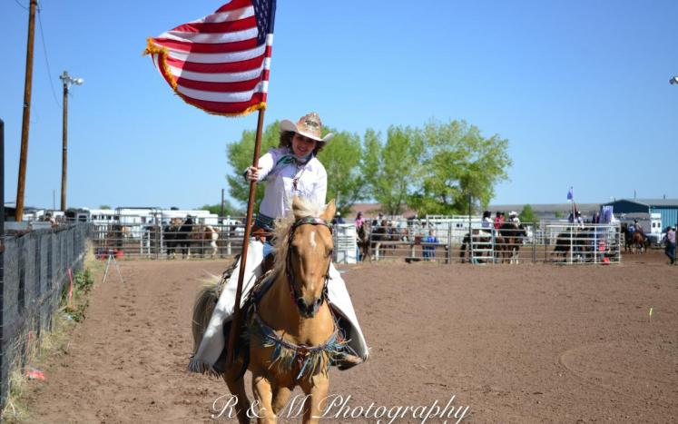 Cowgirl with Flag